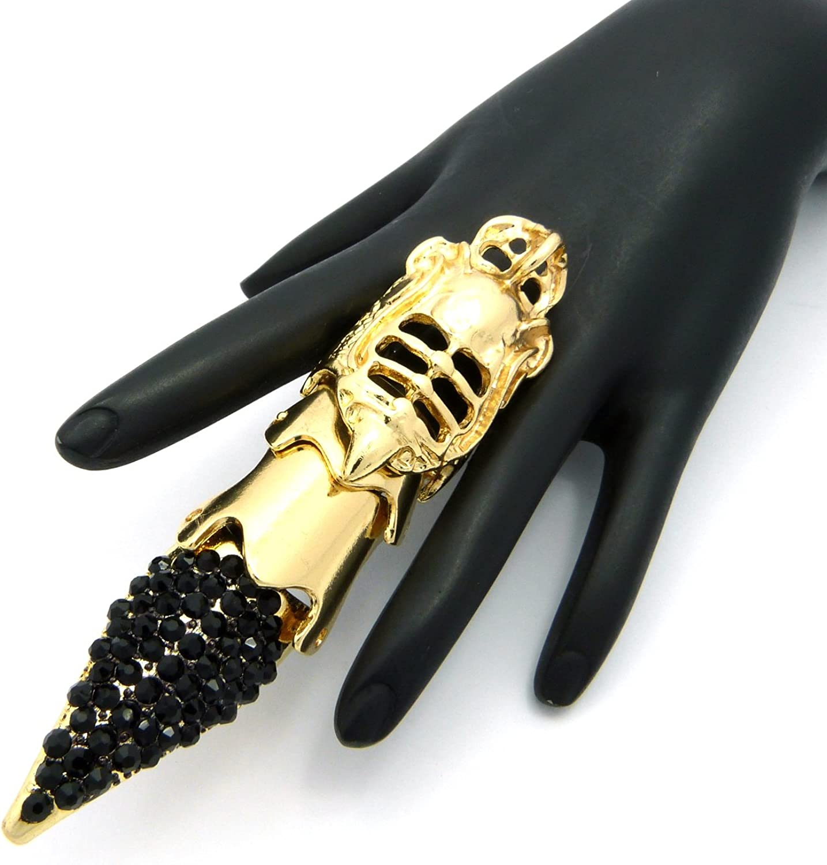 ton or HR1131GDJET Bague de doigt flexible de style armure /à bout pointu avec pierres de Strass noires
