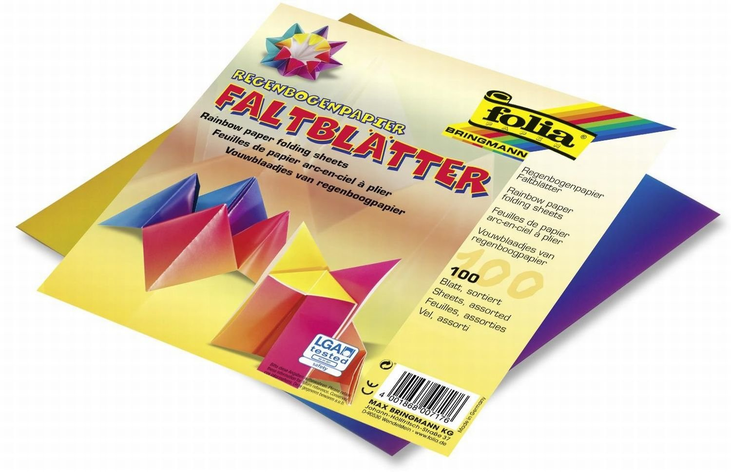Global Art Materials Folia Origami Paper Rainbow Pattern 6-Inch-by-6-Inch Assorted Colors 100 Sheets 6 x 6 716