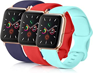 ATUP Pack 3 Compatible with iWatch Band 38mm Women, Soft Silicone Band Compatible iWatch Series 4, Series 3, Series 2, Series 1 (Navy Blue/Orange Red/Light Blue, 38mm/40mm-S/M)