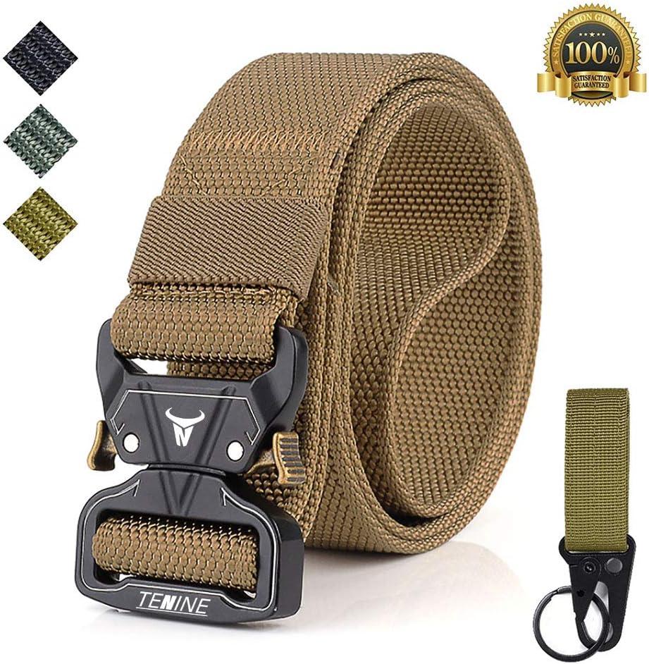 TENINE Cobra Buckle Belt 1.5 Inch Tactical Heavy Duty Belt Nylon Military Style Belt with Quick-Release Metal Cobra Buckle for EDC Molle Equipment