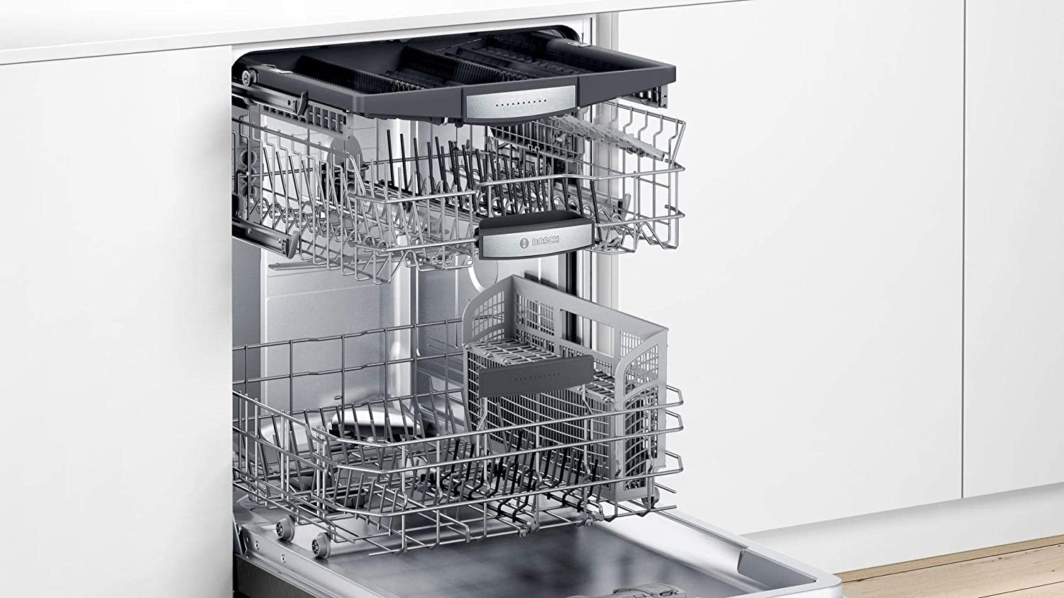 White Bosch SHXM78Z5N 24 800 Series Fully Integrated Dishwasher with 16 Place Settings Flexible 3rd Rack InfoLight and CrystalDry