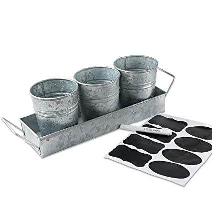 LifeSmart USA Galvanized Steel Picnic Planter and Caddy Set - One Caddy and Three Pails - 17 x 4 inches - Multipurpose Use - Ideal for Entertaining Or Garden Use - Bonus Chalkboard Labels and Marker