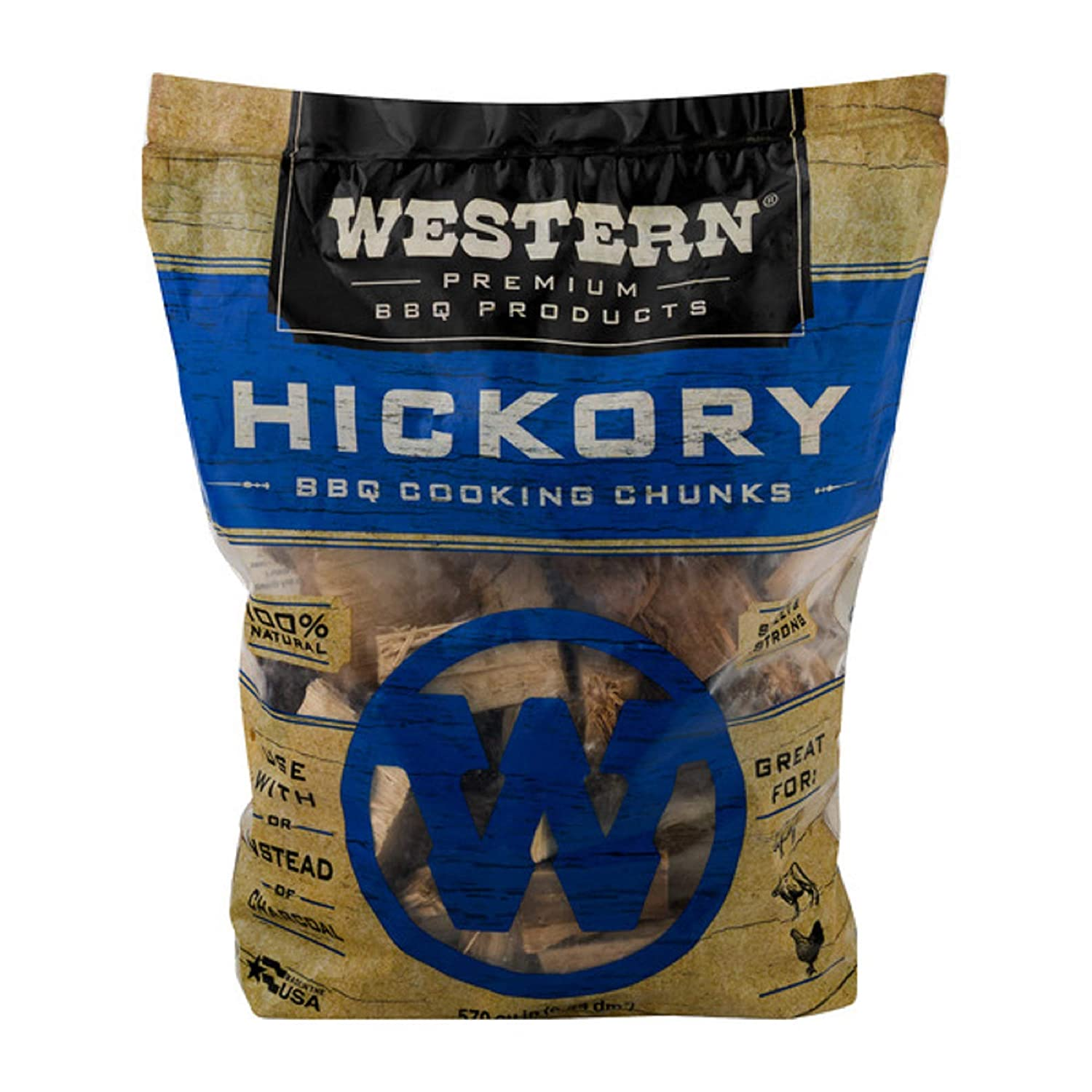 Western Premium BBQ Products Hickory BBQ Cooking Chunks, 570 cu in