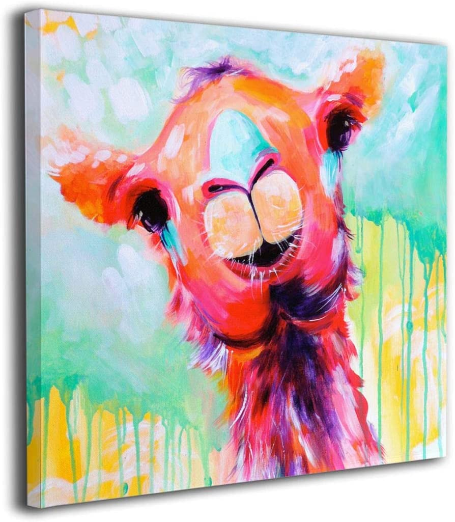 Dorothy Wiebelhaus Watercolor Annimals Llama Painted Framed Oil Paintings Printed On Canvas Wall for Office Home Decor Pictures Modern Artwork Hanging for Living Room Decorations Ready to Hang