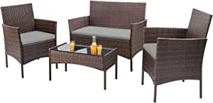 Homall 4 Pieces Outdoor Patio Furniture Sets Rattan Chair Wicker Set, Outdoor Indoor Use Backyard Porch Garden Poolside Balcony Furniture Sets Clearance (Gray)