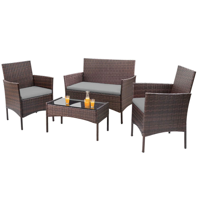 Amazon.com: Homall - Juego de 4 muebles de mimbre para patio ...