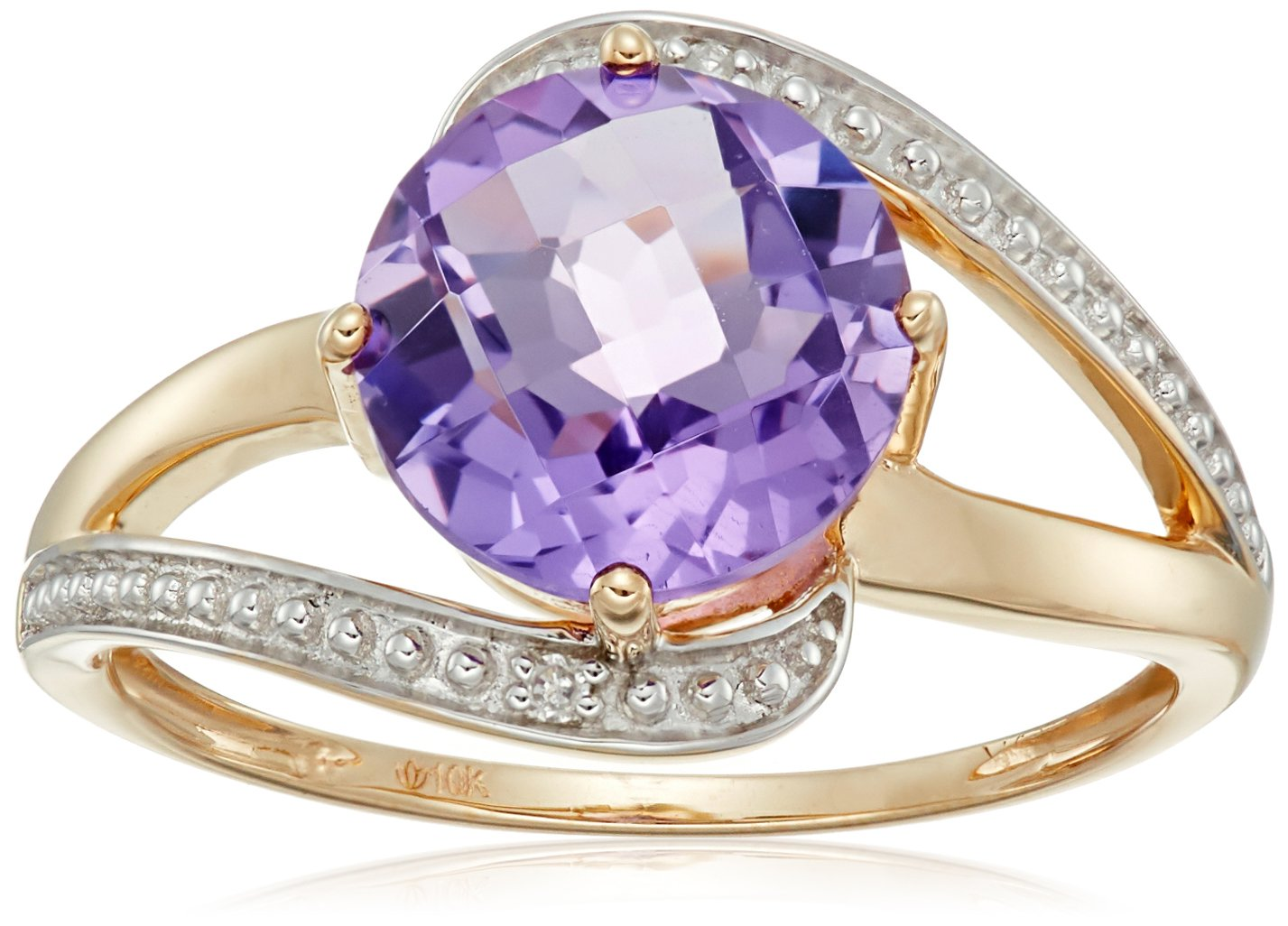 10k Yellow Gold African Amethyst and Diamond Accented Solitaire Ring, Size 7 by Amazon Collection