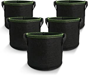 Amigro 5-Pack 1 Gallon Plant Grow Bags, Non-Woven Aeration Fabric Flower Container Pots with Handles, Smart Garden Planter, Reinforced Weight Capacity & Extremely Durable, Black