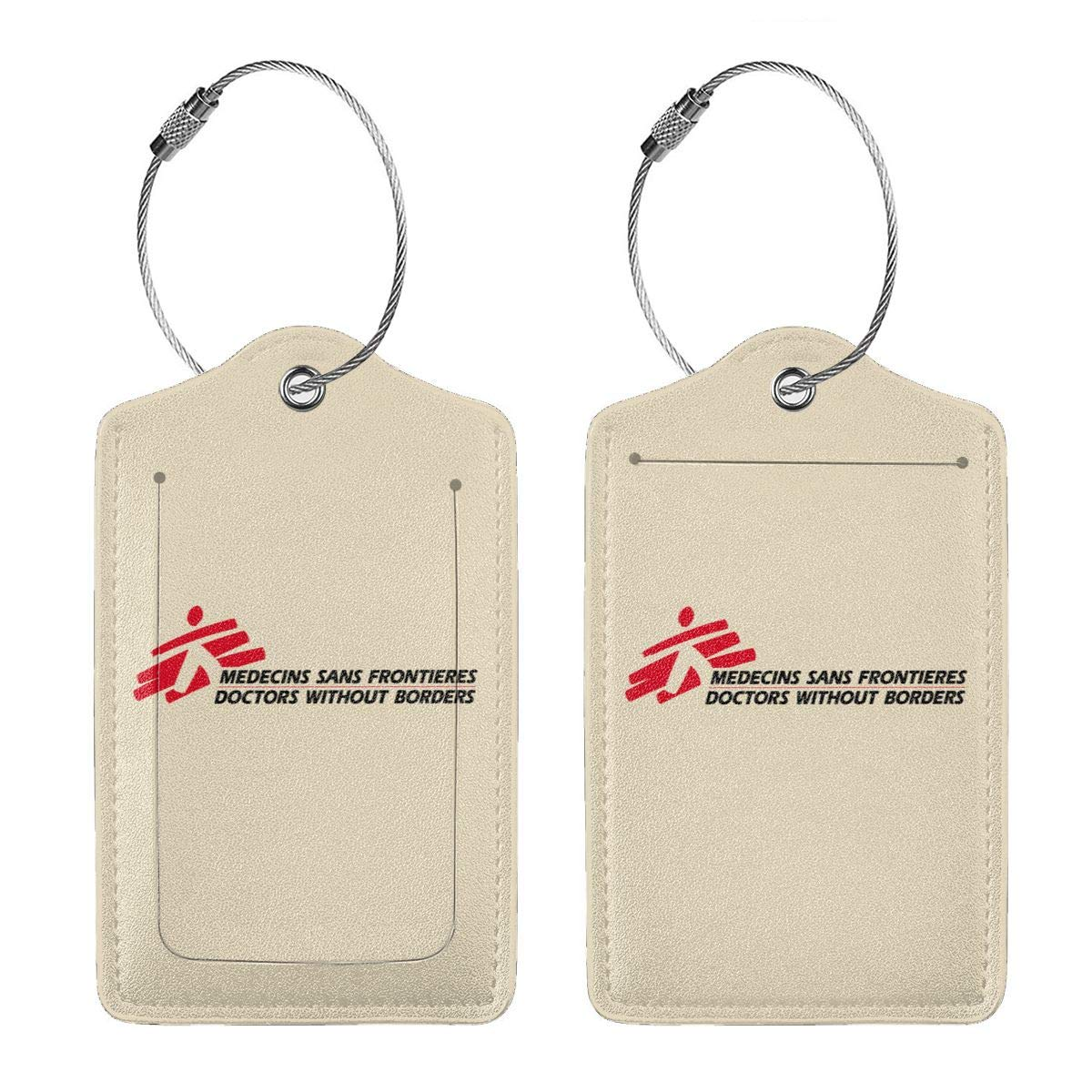 Doctors Without Borders Leather Luggage Tag Travel ID Label For Baggage Suitcase
