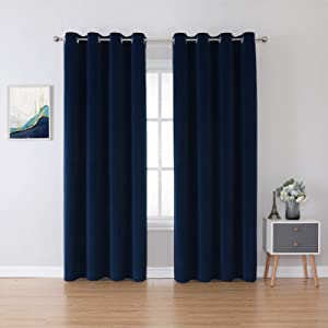 BERSWAY 100% Blackout Curtains & Drapes for Living Room 84 Inch Length, Modern Thermal Insulated Black Out Velvet Curtain for Bedroom,Blue, 2 Panels, 84 Inches
