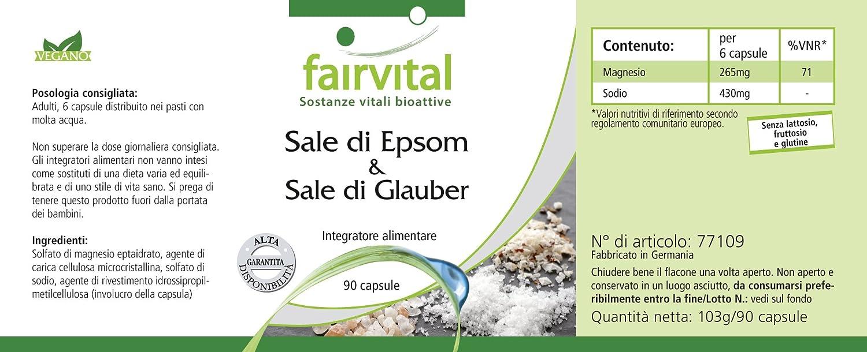 sal de Epsom y sal de Glauber - durante 15 días - VEGANO - 90 cápsulas - sulfato de magnesio y sulfato de sodio: Amazon.es: Salud y cuidado personal