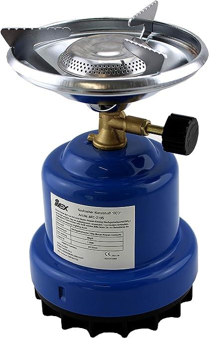 IMEX Hornillo de gas butano BFC-2195 - Cocina portátil para camping - Ideal para calentar alimentos y agua