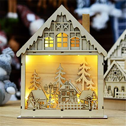 hongg creative led christmas house wooden christmas village decoration - Wooden Led Christmas Decoration
