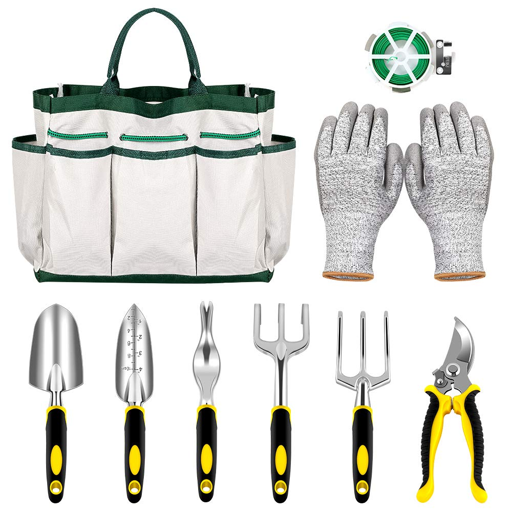 NEX Garden Tools Set- 9 Pieces Heavy Duty Gardening Kit with Plant Rope, Gardening Gloves, Storage Tote 6-pcs Ergonomic Gardening Tools Gift for Men & Women by NEX