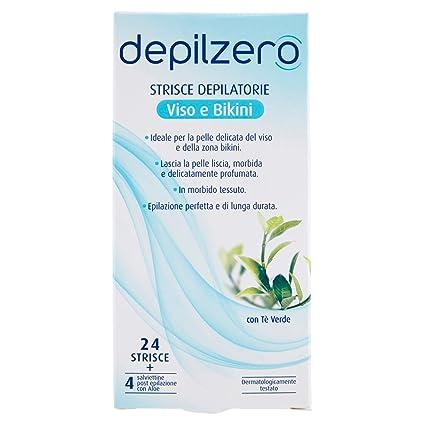 Depilzero - Tiras Depilatorias Cara y Bikini 24 Piezas + 4 Toallitas Exponer Depilación paquete de
