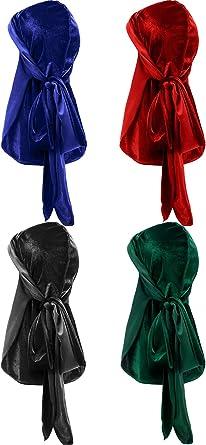 4 Pieces Mens Velvet Durag with Long Tail Soft Durag Headwraps for 360 Waves Black, Purple, Gold, Light Blue