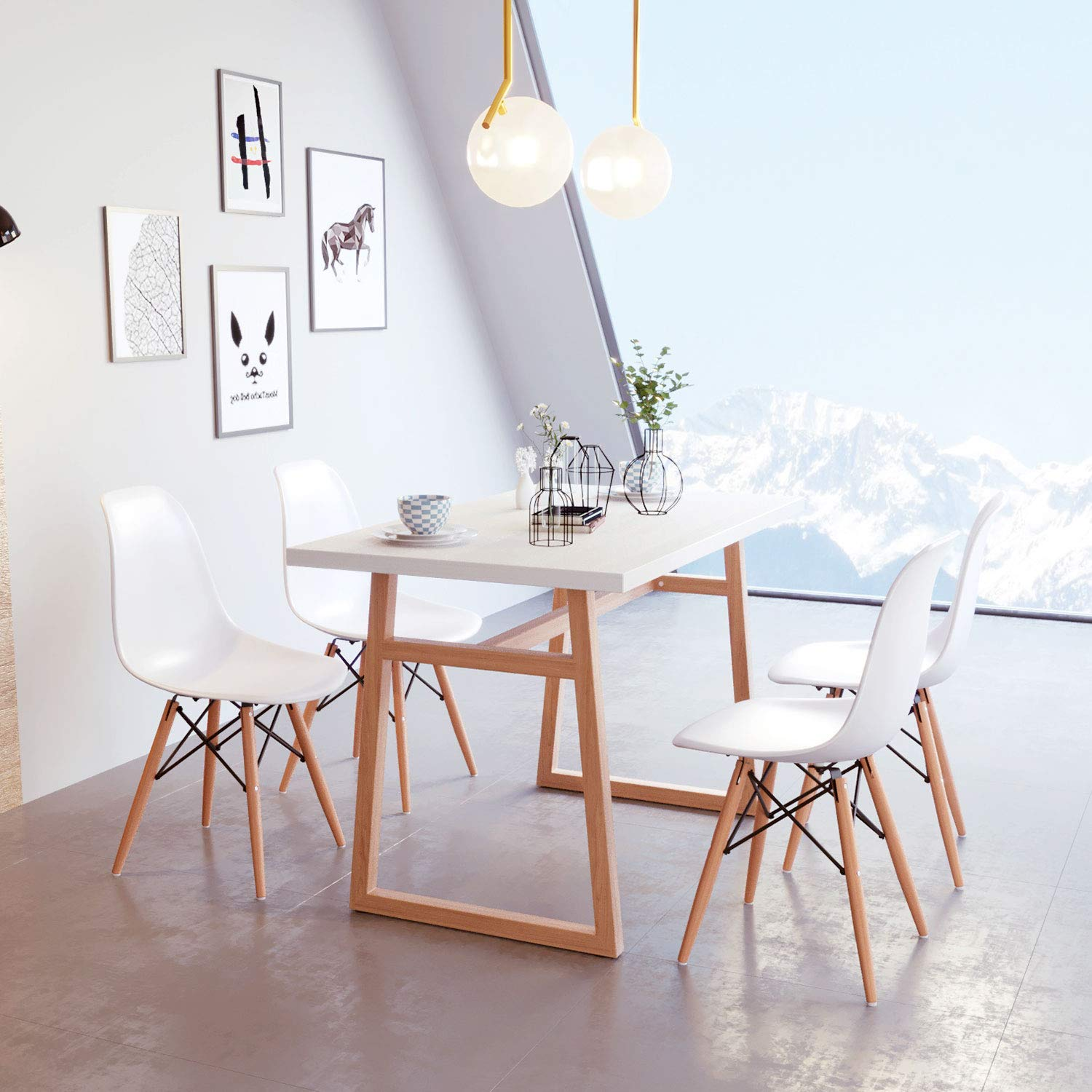 Miraculous Jeffordoutlet Dining Table And Chairs Set Of 4 Chairs Modern Home Kitchen Living Room Furniture White Wooden Table Set Of 4 Chairs Download Free Architecture Designs Rallybritishbridgeorg