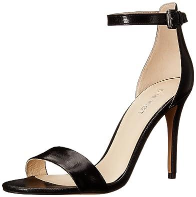 Nine West Women's Mana Leather Heeled Sandal, Black, ...