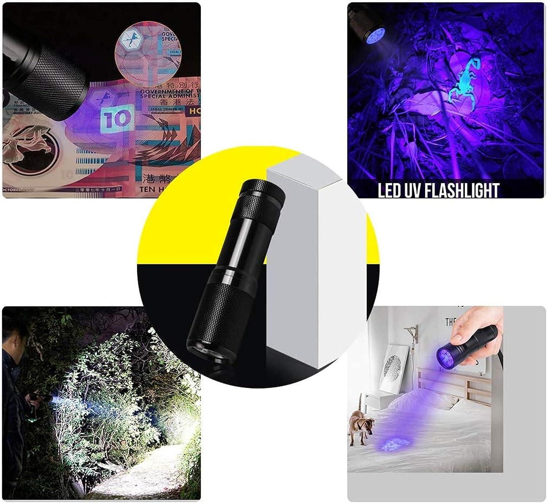 PUYEOLEN 6 Pack UV Ultra Violet Blacklight 9 LED Flashlight Torch Light Outdoors,Pet Stains and Bed Bug Detector,Pet Urine Detector for Dog Urine,Dog Urine Remover