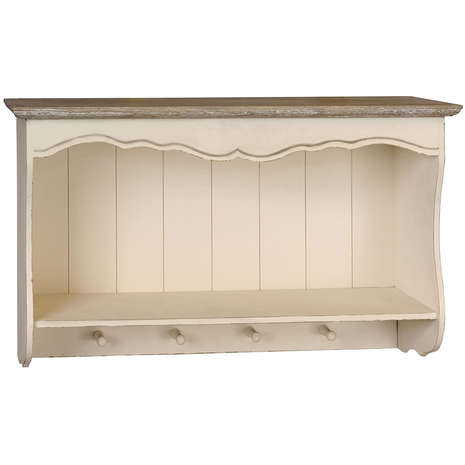 SHABBY CHIC FRENCH STYLE COUNTRY WALL SHELF UNIT WITH HANGING HOOKS ...