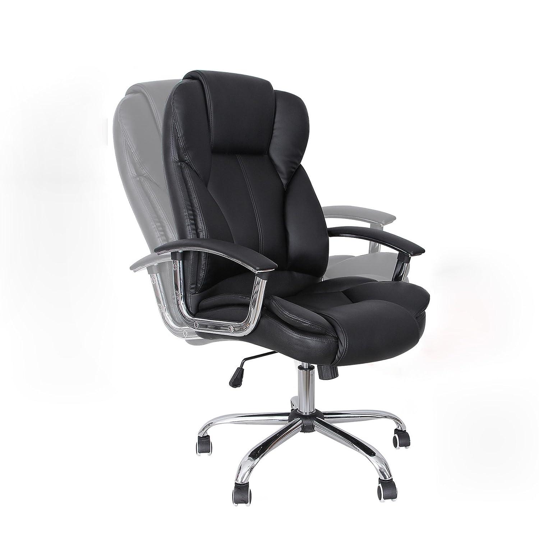 quality design 88c25 34f6b SONGMICS Silla de oficina con asiento expandido, Silla ejecutiva con  reposacabezas y conjín engrosados, Altura ajustable, ...
