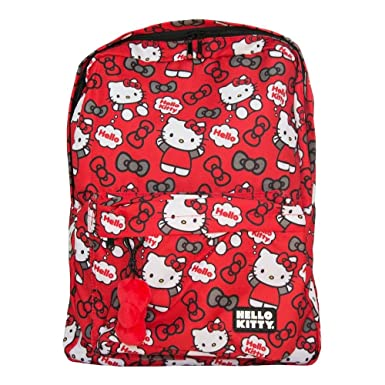a7864e9274 Image Unavailable. Image not available for. Color  Loungefly Hello Kitty  HELLO Backpack (Red Grey All Over Print)