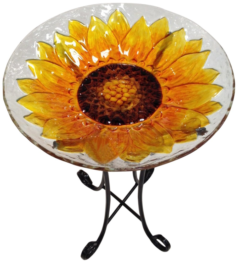 Continental Art Center CAC8ES15326 Deep Hand Painted Glass Plate, 18 by 3-Inch, Sunflower Yellow