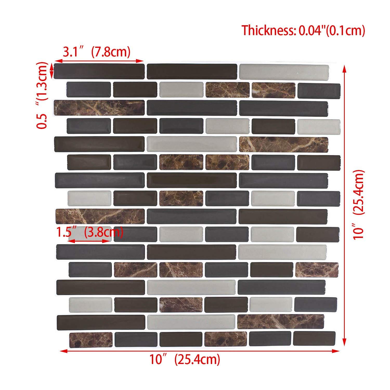"Peel and Stick Backsplash,HONJAN Renters Groutless Removable Adhesive Vinyl Muretto Brina Backsplash Tiles for Kitchen Bathroom 10""x10"" Pack of 13 (A) by HONJAN (Image #2)"