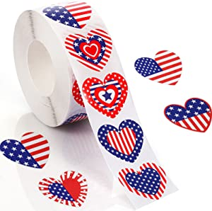 1000 Pieces American Flag Stickers Patriotic Label Star-Shaped Heart-Shaped Roll Sticker Self Adhesive Tag Seals Sticker Party Supplies for 4th of July Independence Day Decor(Heart-Shaped Style)