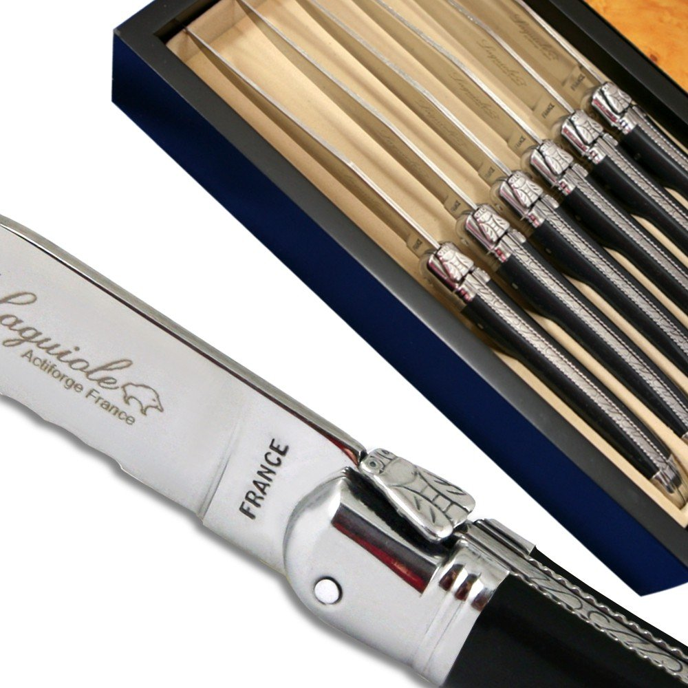 Laguiole steak knives ABS luxury black with micro-serrated blade direct from France Laguiole Actiforge
