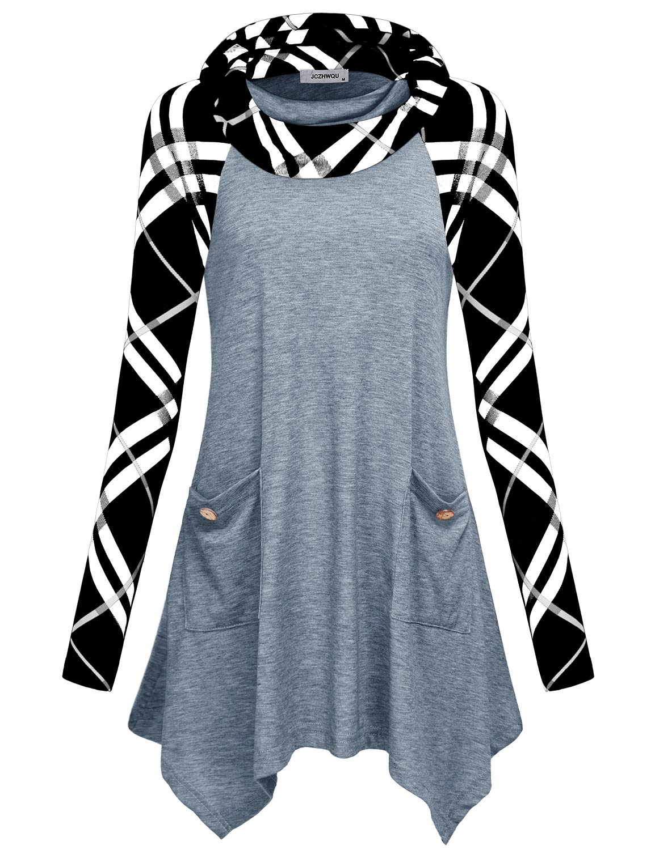 Cowl Neck Tunic, Womens Tops Unique Checker Print Raglan Sleeve Hanky Uneven Point Flared Hemline Daily Wear Lightweight Soft Maternity Waterfall Drapey Flattering Tops for Juniors Grey XL