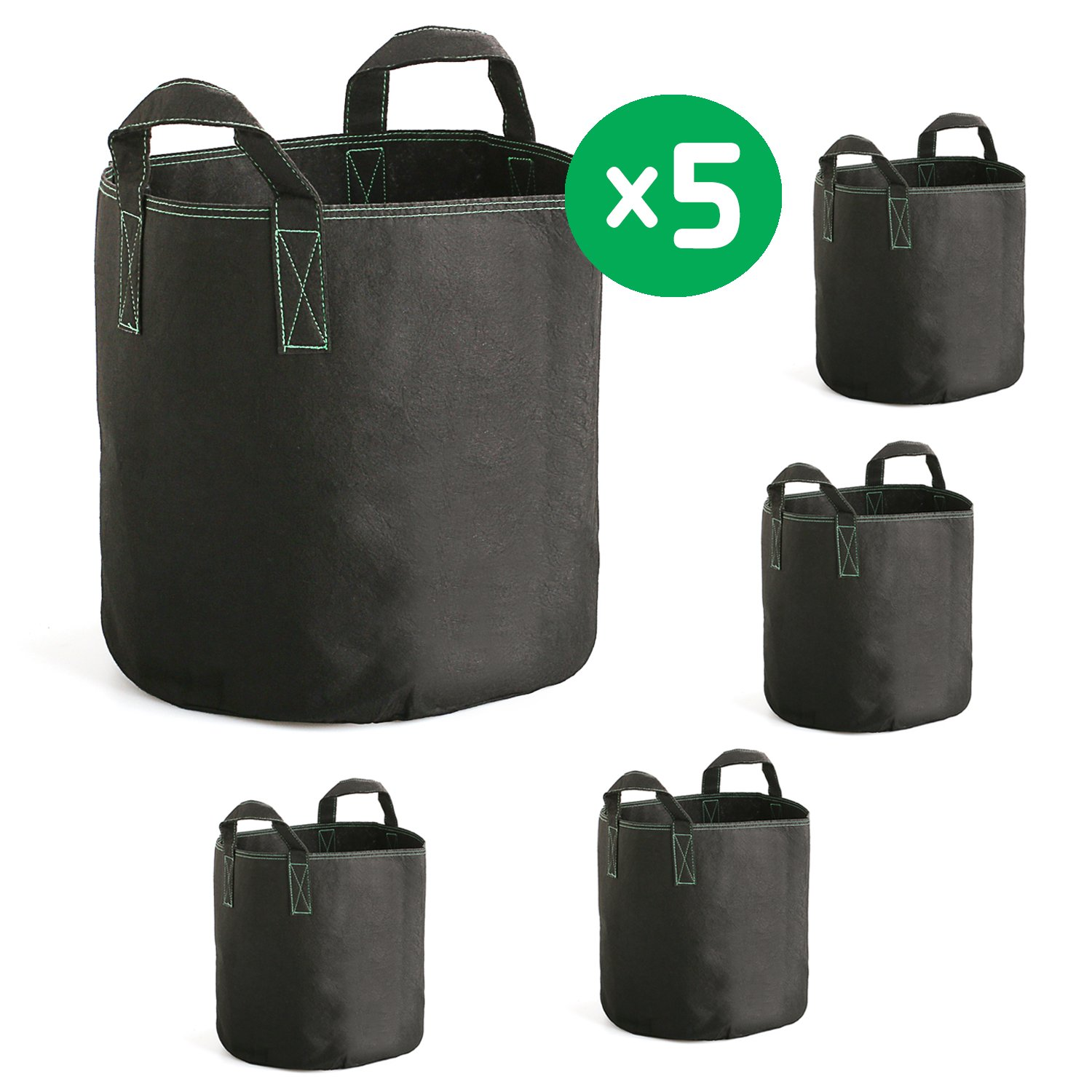 Hovinso Grow Bags 7 Gallon, 5-Pack Thickened Non-Woven Plant Fabric Aeration Pots Container with Handles for Nursery Garden and Planting,Reusable and Durable