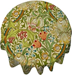 Tablecloth Round 54 Inch Table Cover William Morris Golden Lily Vintage Pre-Raphaelite Table Cloth Decor for Buffet Table, Parties, Holiday Dinner, Wedding & More