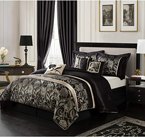 BEAUTIFUL MODERN ~ CHIC CONTEMPORARY REVERSIBLE GREY WHITE BLACK COMFORTER SET