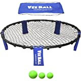 VeeBall Volleyball Spike Game – Includes (3) Balls, Net, Pump & Carry Bag - Exciting Fast Paced Outdoor Lawn Game - Perfect for Beach, Backyard, Tailgate - Fun for Kids Adults Family