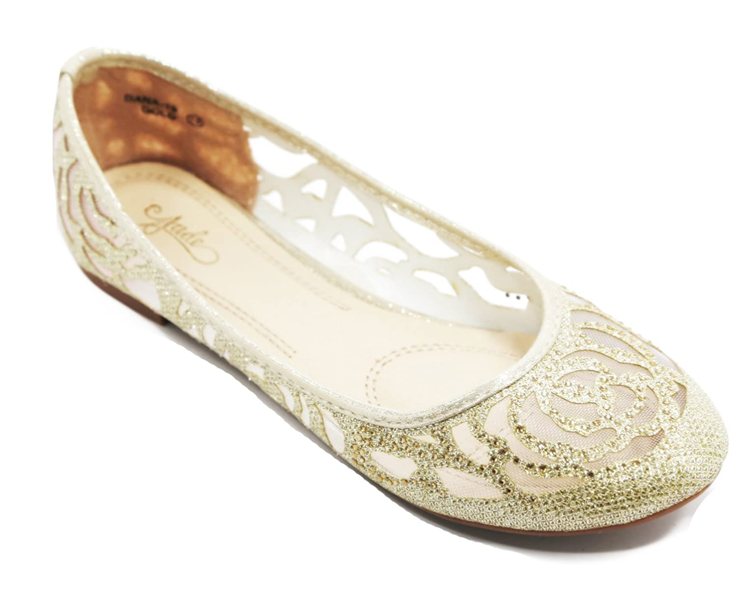 Walstar Glitter Mesh Ballet Flat Slip on Flat Shoes