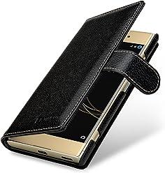 StilGut Talis, housse Sony Xperia XA1 Plus avec porte-cartes en cuir véritable. Etui portefeuille à ouverture latérale et languette magnétique pour pour Sony Xperia XA1 Plus, Noir