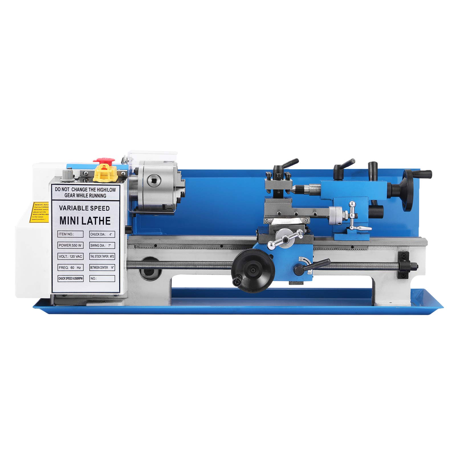 Happybuy 7x14 Inch Metal Lathe 2500RPM 550W Mini Bench Lathe 0.75HP Variable Spindle Speed Milling Machine for Mini Precision Parts Processing