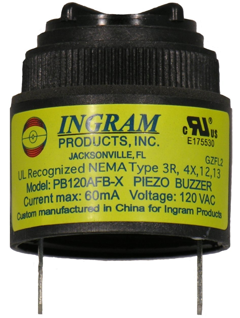 120 VAC Warble Sound Alarm 95dB in Black