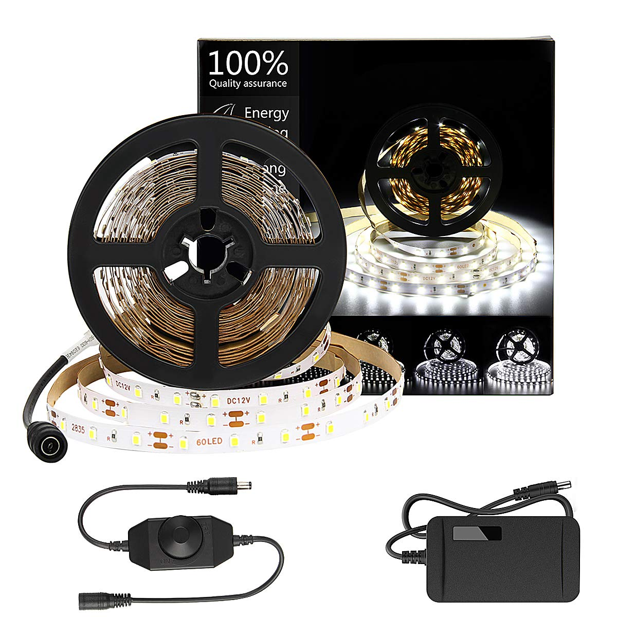 HOMELYLIFE Daylight White LED Strip Lights Kit 6500K Super Brightness Dimmable 300 SMD2835 LEDs 16.4FT Non Waterproof 12v LED Light Strip LED Ribbon for Room Vanity Mirror DIY Decoration