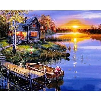 GCQBLM Maison de Campagne Paysage Bricolage Peinture ...