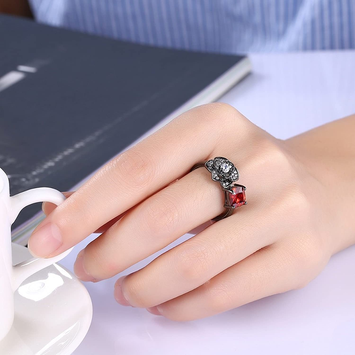 Amazon.com: Adisaer Womens Black Gold Plated Rings Rose Flower Cubic ...