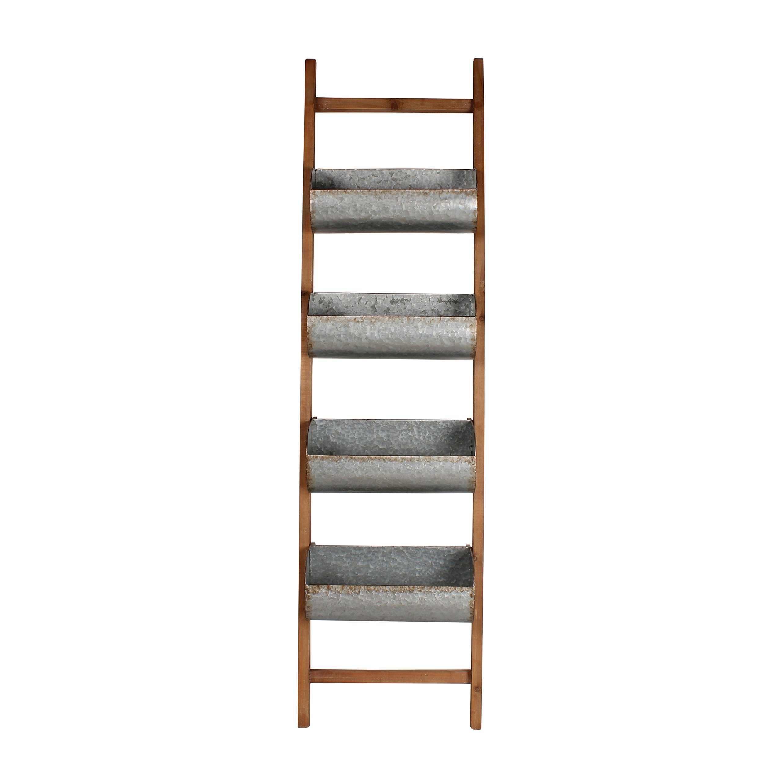 Kate and Laurel Pothos Wood and Metal Leaner Storage Bin Ladder, Rustic Brown by Kate and Laurel