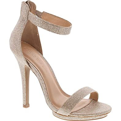 bde51683c5f2 Static Footwear Womens Open Toe Ankle Strap High Stiletto Heel Platform  Pump Sandal,Gold Glitter