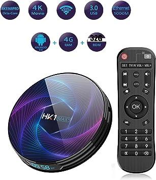 Android 9.0 TV Box 4 GB de RAM/ROM 32GB de 64 bits Cortex-A53 GPU PowerVR G6110, H.265 decodificación 2.4G / 5G de Doble Banda Wi-Fi Smart TV Box: Amazon.es: Electrónica
