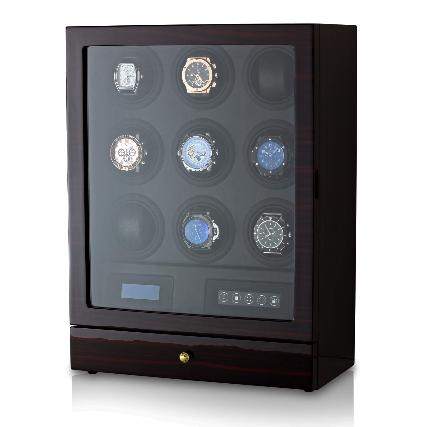9 Watch Winder with LED Backlight, Remote Control, LCD Display and 2 Watches Storage Compartment (Ebony + Black)