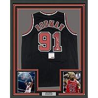 $399 » Framed Autographed/Signed Dennis Rodman 33x42 Chicago Black Basketball Jersey PSA/DNA COA