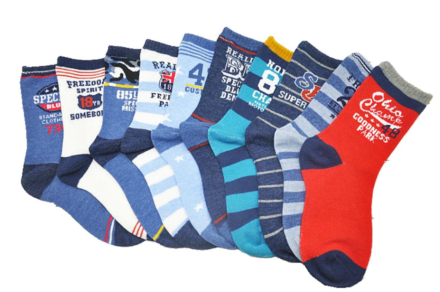 Boys Short Socks Fashion Numbers Cotton Basic Crew Kids Socks 10 Pair Pack by Czofnjesi (Image #2)