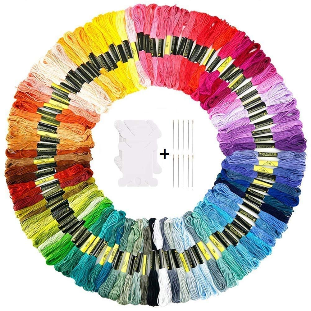 120 Embroidery Floss Kit Including 100 Skeins Embroidery Floss Cross Stitch Thread, 10 Embroidery Floss Bobbins, 10 Embroidery Needles Hidreams