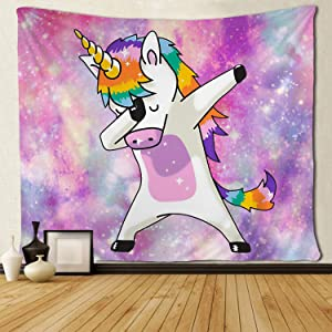 SARA NELL Unicorn Wall Tapestry Hippie Art Dabbing Dab Dance Funny Hip Hop Unicorn Tapestries Wall Hanging Throw Tablecloth 50X60 Inches for Bedroom Living Room Dorm Room